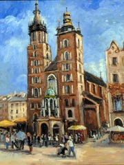 El Paso artist Krystyna Robbins painted the St. Mary's Cathedral in Krakow, where Pope John Paul II was cardinal.