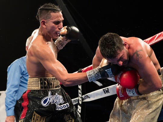 Jose Benavidez vs Matthew Strode in a super middleweight fight during the Top Ranks boxing card at the American Bank Center on Saturday, Feb. 3, 2018.