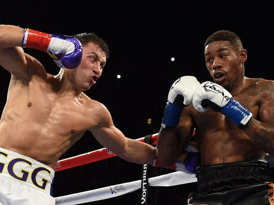 Gennady Golovkin prepares to throw a punch against during his bout with Willie Monroe Jr. (Mark Ralston, AFP/Getty)