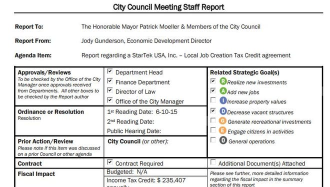 This is part of the staff report on Hamilton's tax incentive offered to call center StarTek.
