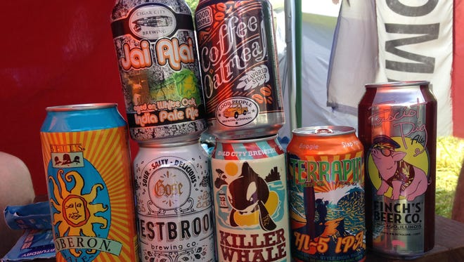Craft beer cans grabbed at an exchange at Bonnaroo, which invited participants to trade beer from across the country. Not pictured: Crazy Mountain Mountain Livin' pale ale (because the writer drank it).