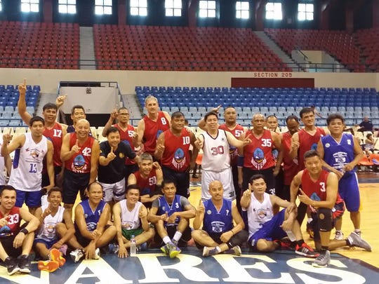 The Guam Masters Basketball Association 35-plus and 50-plus teams combined to win a gold medal in the 35-plus division at the Philippine Masters Sports Association Meet held Sept. 18-22 at Antipolo City, Ynares Gym in the Philippines. The teams are shown with members of the Philippine Masters Sports Association team.