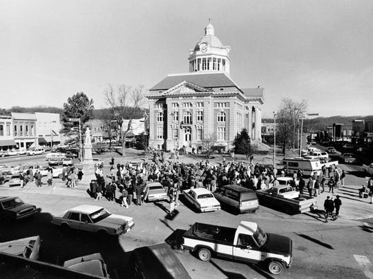 The KKK gathers for a rally in the Pulaski town square Jan. 13, 1990. They were given a citation for ill-legally meeting.