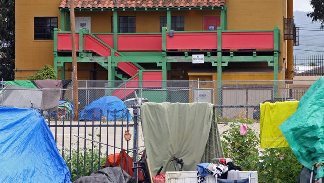 Rear entrance to Dorothy's Place and homeless encampment.
