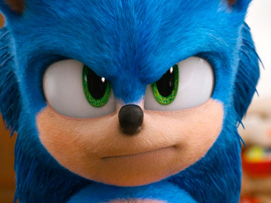 """Sonic, voiced by Ben Schwartz, in a scene from """"Sonic the Hedgehog."""""""