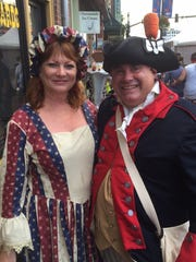 Cindy Harding and Christian Tyrrell came in full 1776-era