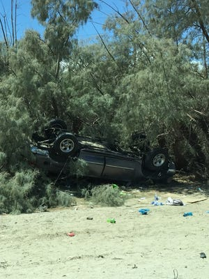 A car flipped while traveling east on I-10 on Aug. 13.
