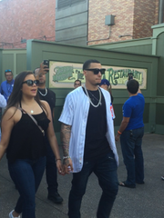 Javier Baez walks through the Magic Kingdom at Walt Disney World on Saturday.