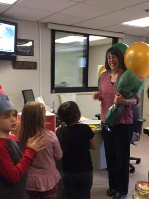 Southeast Elementary School Secretary Karen Socia was named the Howell Public Schools Support Person of the Year on Wed., Nov. 22, 2016. Kindergartners and first graders sang to Socia prior to this announcement.