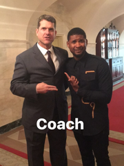 Jim Harbaugh at the White House with Usher from Instagram