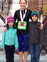 Chambersburg's Kristin Cieza, flanked by her children Sofia and Gabriel, ran for a PR time of 2:00:15 at last weekend's Philadelphia Love Run Half Marathon.