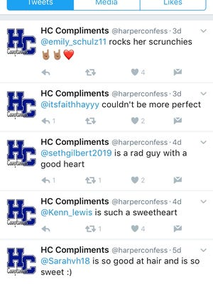 A screenshot of the Twitter account HC Compliments shows some of the latest positive comments that have been shared by students.