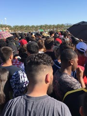 A crowd forms during the local ticket sale for Coachella's