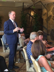 Scott Julien, general manager at Thunderbird Country Club, talks during the Grow the Game symposium at the club.