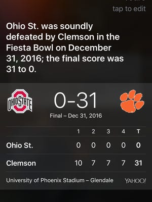 """Siri answers the question """"When did Michael Jordan retire"""" by bringing up Clemson's shut out over Ohio State in the 2016 Fiesta Bowl"""