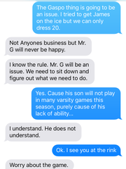 A text conversation between Ramsey athletic director