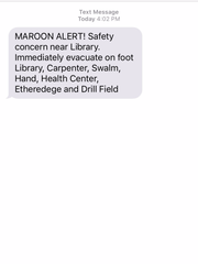 The Maroon Alert text sent out to Mississippi State students on Wednesday afternoon.