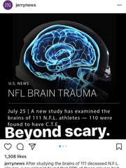 Screen shot of story shared on Kelly Stafford's Instagram