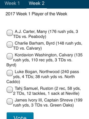 The Week 1 ballot for Player of the Week is now available on the Friday Night Live app.