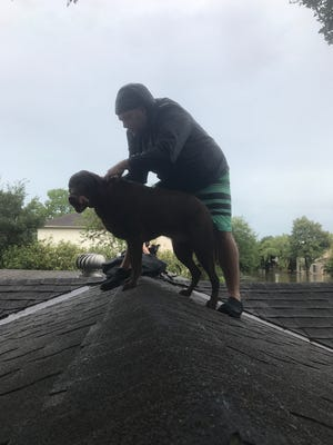 Rising floodwaters forced Mary Nendza, fiancé Kris Atkinson and his brother Matt onto their drenched Houston rooftopin the pounding rain of Hurricane Harvey. They credit Facebook with speeding up their rescue.