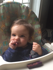Baby Andrew gets pieces of food, not puree, in Baby Led Weaning.