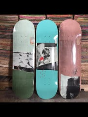 JoAnn Goodman's art is photographed and then printed onto the decks of Courier skateboards. The company is based in Evansville.