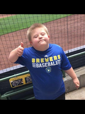 Brady Marmes, 10, of Hartland was the junior grand marshal for the 2017 Wisconsin Upside Down Buddy Walk on Oct. 8.