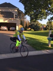 Swiss native Heinz Ruch kicks off his long cycling