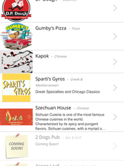 The restaurants to choose from in the Chomp cell phone