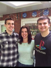 Susan Rivelli with her sons Robert (left) and Evan.
