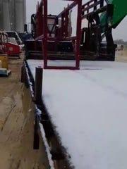 Snow in Encinal, 50 miles west of Freer, on Dec. 7,