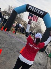 Carol Nemecek completes the PoHo Hot Cocoa Run Jan.