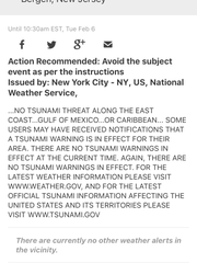 """The National Weather Service later issued a notice retracting the tsunami threat along the east coast. """"There are no tsunami warnings in effect,"""" it reads."""
