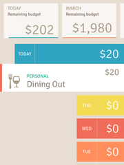 Screenshot of Wally personal finance app.