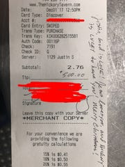 A customer left Justin Stutte a supportive message,