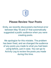 An example of a notification affected users received from Facebook.