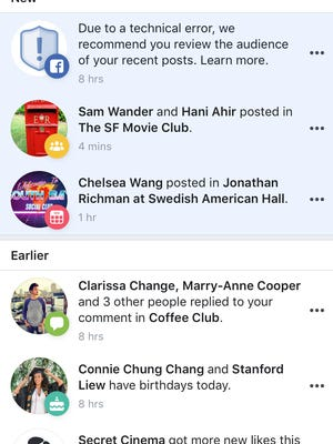 An example of a notification affected users might see from Facebook.