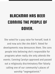 A portion of statements about Dover Alderwoman Carolyn Blackman on a website created by Mayor James Dodd.