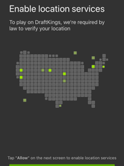 A screenshot of the location verification screen of