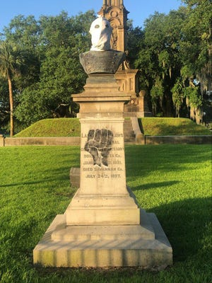The bust of Lafayette McLaws was vandalized on Thursday at the Confederate Monument in Forsyth Park.