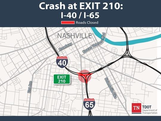 Crash at exit 210 in downtown Nashville