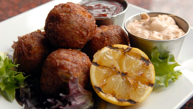 The lump crab cake fritters at the Red Yeti Brewing Co. in Jeffersonville, Ind.    Feb. 19, 2016