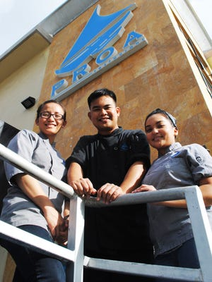 These leaders at PROA Restaurant also spent time in the kitchen classrooms of the Guam Community College's Culinary Academy. They are, from left, Jennifer Mapa, baker, Benny Russell Campos, sous chef and Rachael Castro, pastry chef de partie. Campos is from the Academy's Cycle 1.