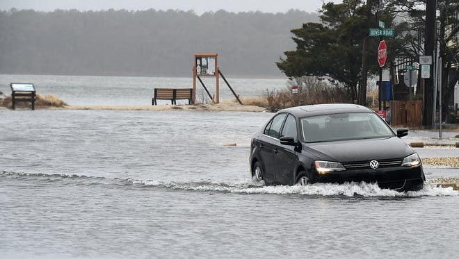 Read Street in Dewey Beach is flooded as high winds and rainy conditions continue in the Rehoboth and Dewey Beach area on Monday.