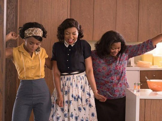"Janelle Monae, left, Taraji P. Henson and Octavia Spencer in ""Hidden Figures."""