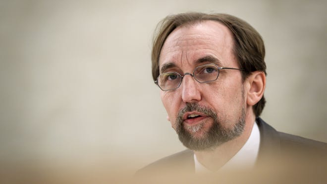 "United Nations High Commissioner for Human Rights Zeid Ra'ad Al Hussein delivers a speech on May 18, 2018 in Geneva, during a special session of the U.N. Human Rights Council to discuss ""the deteriorating human rights situation"" in the Palestinian territories."