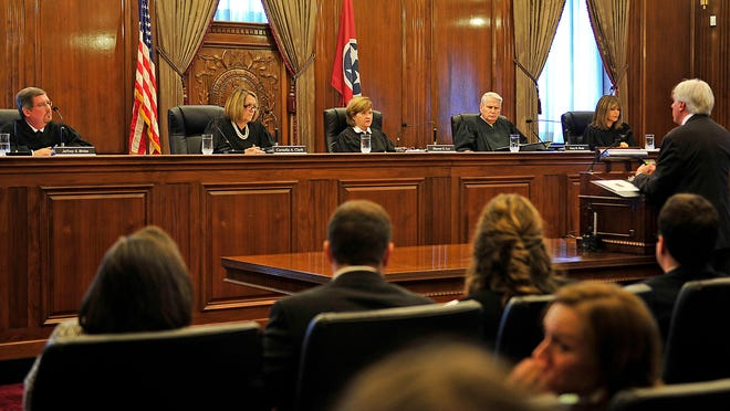 Plaintiff's attorney Stephen Kissinger, an assistant federal defender, speaks in front of Tennessee Supreme Court justices during a hearing Thursday. He said having the names of those involved in executions allows attorneys to dig deeper into the participants' background.