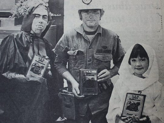 The winners of the 1983 Uniontown Public School's Halloween Costume Contest are shown here. From left, Frank Cottrell, Tommy Burke, and Heather Oldham.