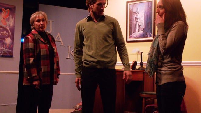 "Laurene Scalf, Michael Mayes and Lauren McCombs in The Bard's Town production Daniel Pearle's play ""A Kid Like Jake."""
