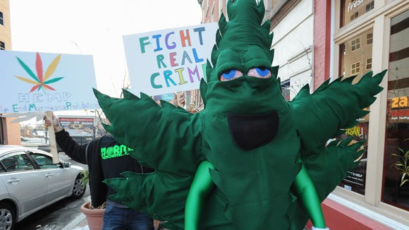 Delaware pot activist Michael Pukatsch, of Claymont, dressed as a marijuana leaf during a pro-pot rally in Wilmington this February.